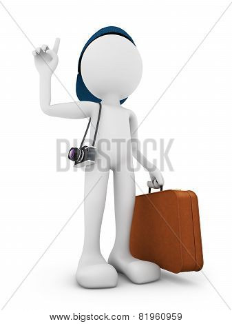 Man With A Suitcase And A Camera