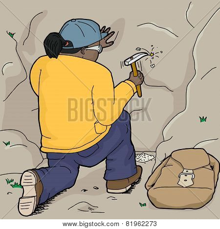 Geologist Getting Samples