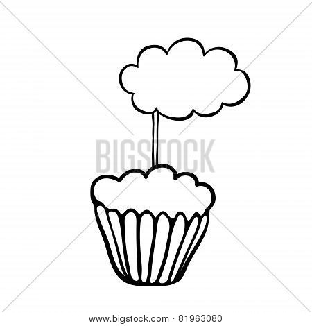Cupcake sketch with cloud topper