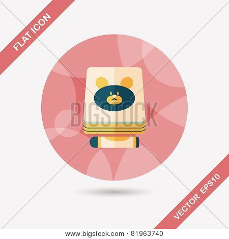 Crayons Drawing And Book Flat Icon With Long Shadow,eps10