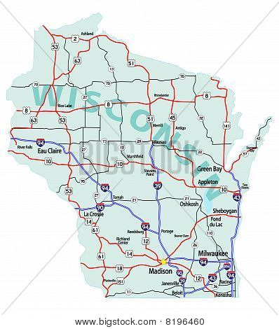 Wisconsin State Interstate Map