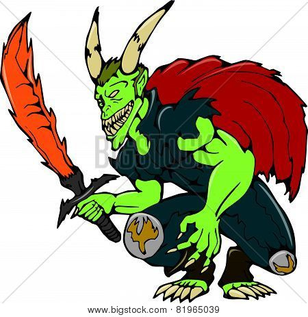 Demon Wield Fiery Sword Cartoon