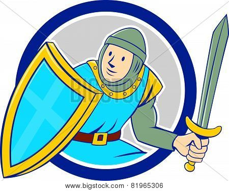 Medieval Knight Shield Sword Circle Cartoon