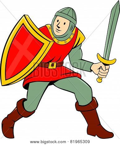 Medieval Knight Shield Sword Standing Cartoon