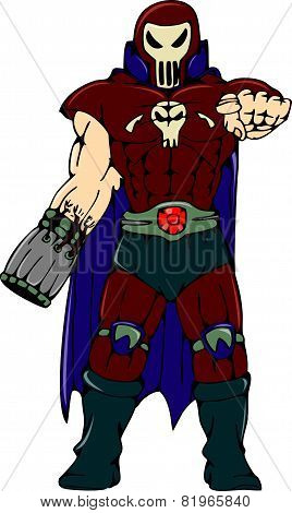 Skull Masked Warrior Pointing Cartoon