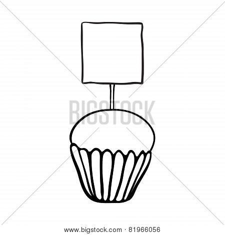 Cupcake sketch with square topper