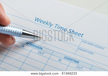 Person Hand With Pen Over Weekly Time Sheet
