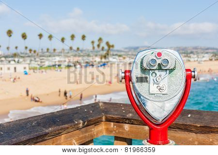 coin operated telescope at Newport Beach Pier, California