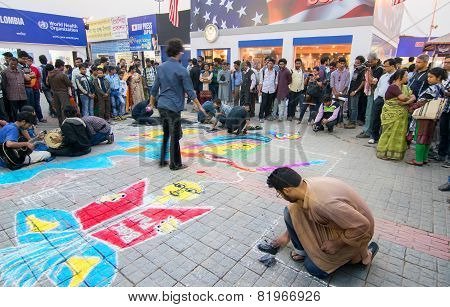 Artists Painting Floor At Kolkata International Book Fair - 2015.