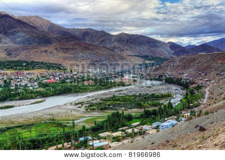 Indus River And Kargil City, Leh, Ladakh, Jammu And Kashmir, India