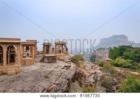Jaswant Thada Mausoleum With Mehrangarh Fort