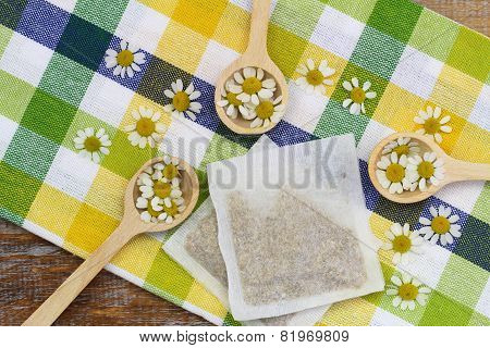 Get well card with chamomile flowers in wicker basket
