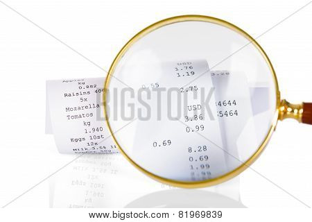 Magnifying Glass On Receipt