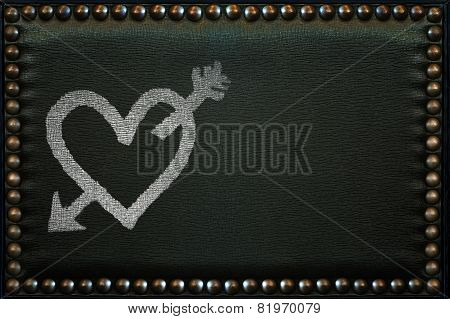 Love Heart Painted On The Leather Pattern With Knobs