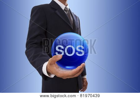 Businessman hand holding blue crystal bal