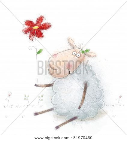 Cute cartoon sheep  with the red flowers.Valentines greeting card. Happy birthday card.