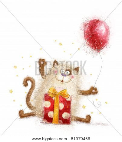Cute cat. Birthday invitation.Birthday party. Cat with gift and balloon.