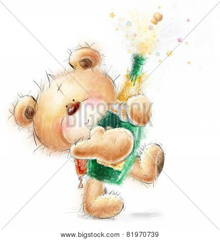 Cute Teddy Bear with the bottle of close -up champagne.Party invitation.Happy Birthday greeting card