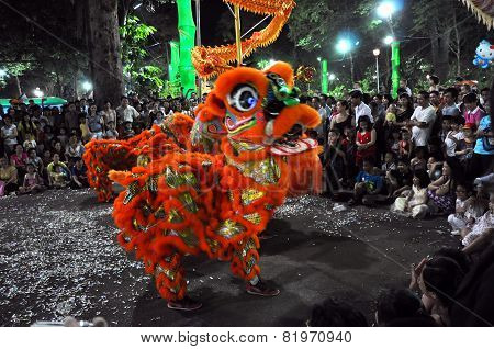 Dragon Dance During The Tet Lunar New Year In Vietnam