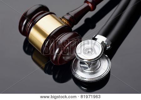 Gavel And Medical Stethoscope
