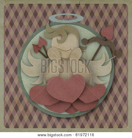 Cupid Sit On Heart Love Red Could On Retro Background, Love Concept