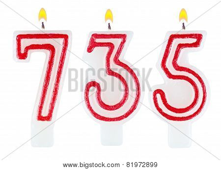Candles Number Seven Hundred Thirty-five Isolated