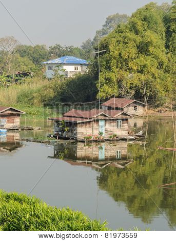 Floating House Village In Thailand