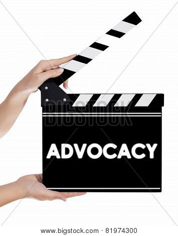 Hands Holding A Clapper Board With Advocacy Text