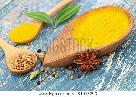 Tumeric powder, star anise, cardamon and coriander seeds