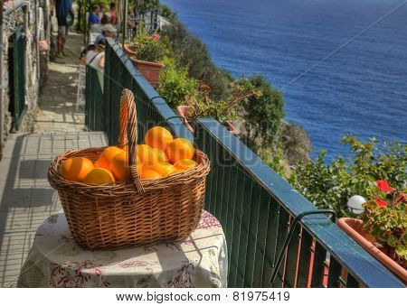 A Basket With Oranges