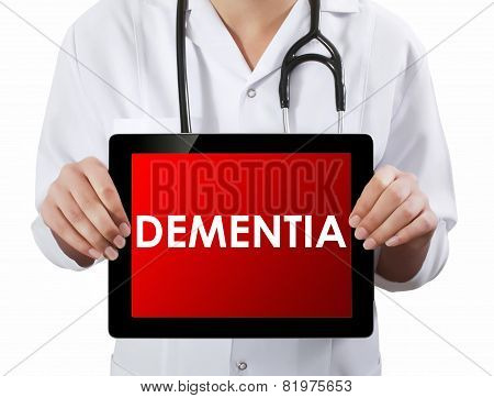 Doctor Showing Tablet With Dementia Text.