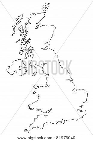 Map of UK in white