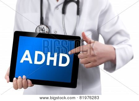 Doctor Showing Tablet With Adhd Text.