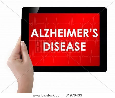 Doctor Showing Tablet With Alzheimers Disease Text.