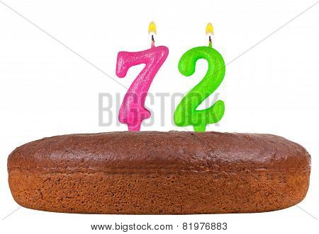 Birthday Cake Candles Number 72 Isolated