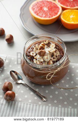 Buckwheat Porridge With Cocoa, Hazelnuts And Banana