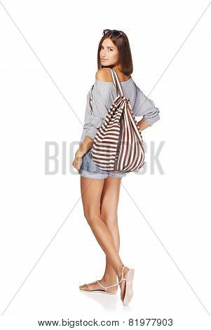 Beautiful girl with summer backpack