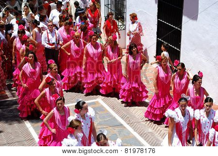 Teenage Flamenco dancers in the street.
