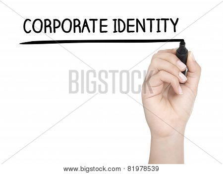 Hand With Pen Writing Corporate Identitiy On Whiteboard