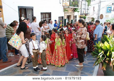Spanish children in traditional dress.