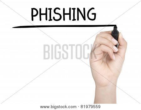 Hand With Pen Writing Phishing On Whiteboard