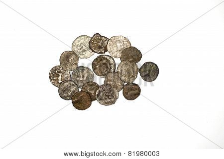 Ancient Bactrian Bronze Coins On White Background