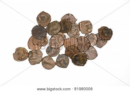 Ancient Sasanid Bronze Coins On White Background