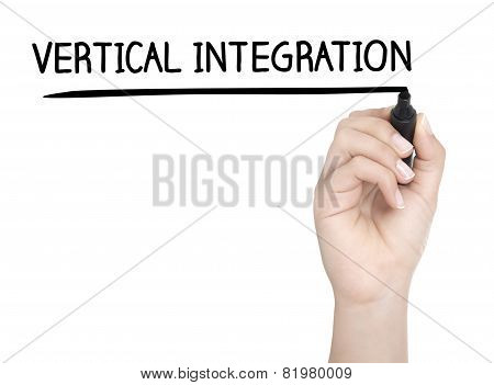 Hand With Pen Writing Vertical Integration On Whiteboard