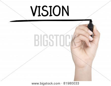Hand With Pen Writing Vision On Whiteboard