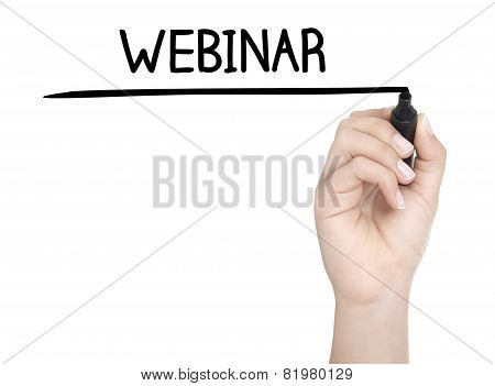 Hand With Pen Writing Webinar On Whiteboard