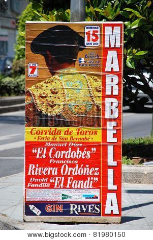 Bullfighting poster, Marbella.