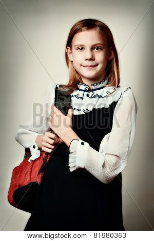 Girl Standing With School Bag Retro Style