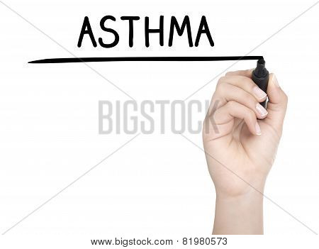 Hand With Pen Writing Asthma On Whiteboard