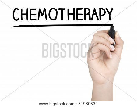 Hand With Pen Writing Chemotherapy On Whiteboard